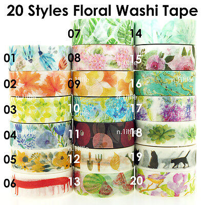 20 Styles Floral Paper Washi Tape Masking Adhesive Roll Decorative Card Craft
