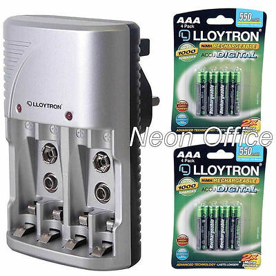 Lloytron AA / AAA / 9V Battery Charger + 8x AAA 550mAh Rechargeable Batteries