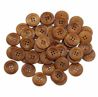 Buttons 25mm Round Wood 4 Holes Scrapbooking Sewing Wooden DIY Craft 50 Pcs