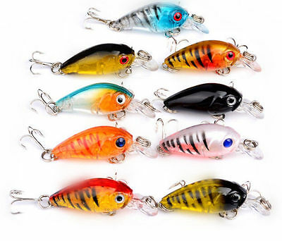 9pcs Plastic Crank Bait Tackle  CrankBait Lot Hot Bass Fishing Lures