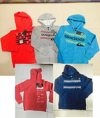BNWT Authentic Boys Quiksilver Hoodie Jacket Sizes 5 6 7 8 10 12 14