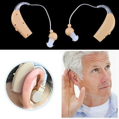 2 X Rechargeable Hearing Aids Personal Sound Amplifier Behind The Ear AU