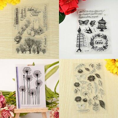 Tree & Bird Transparent Silicone Clear Rubber Stamp Sheet Cling Scrapbooking DIY