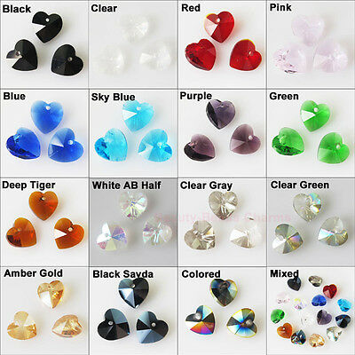 10 New Charms Faceted Heart Glass Crystal Rondelle Pendants 10mm