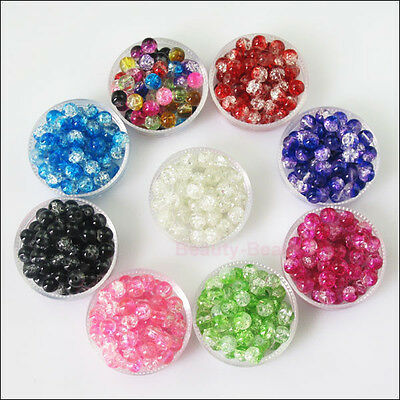 New Charms Glass Crackle Loose Round Ball Spacer Beads Mixed 4mm 6mm 8mm