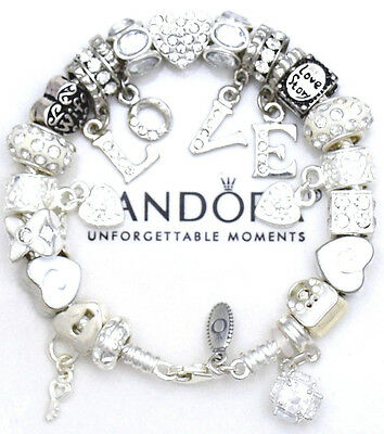 "Authentic PANDORA Bracelet 925 Silver with ""Love Story"" Wife European Charms New"