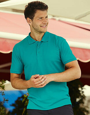Mens Polo Shirt short Sleeve Fruit of the Loom Pique 180 G/M ² S-3xl plus Size