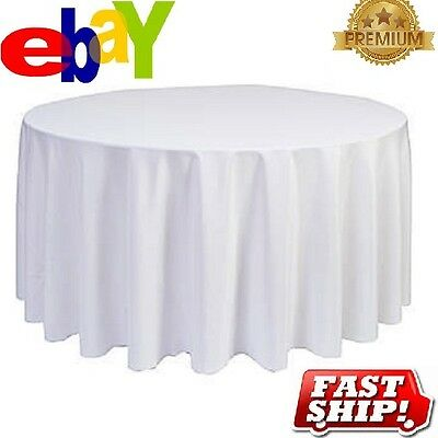 12 new premium white restaurant wedding linen table cloths poly round 90""