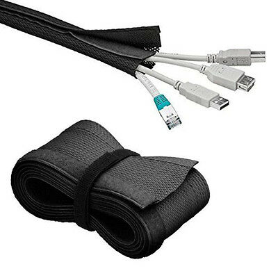 """72"""" Cable Management Sleeve Wrap Wire Cord Organizer System For TV Computer Home"""