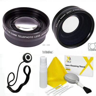 Hd Wide Angle  Lens + Zoom Lens + Cleaning Kit For Sony Alpha A200 A230 A68 A58