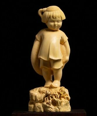 D021 - 20*8*7 CM Carved Boxwood Carving Figurine : Happy Little Girl