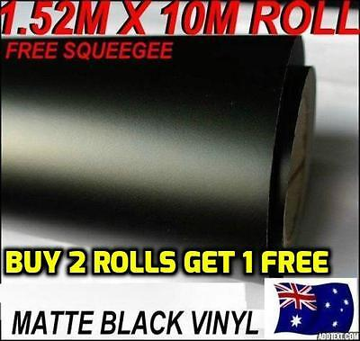 BRAND NEW Matte Black Car Vinyl ROLL Wrap Sticker, 1.52M X 10M FREE SQUEEGEE,OZ