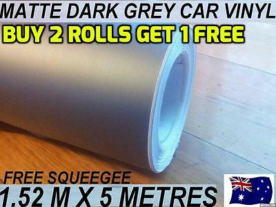 OZ Brand New MATTE GREY Car Vinyl Wrap Sticker1.52 X 5 metre, FREE Sguegee