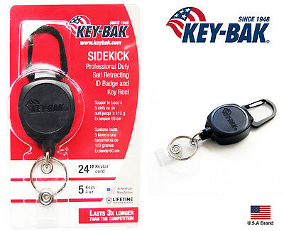 "Key-Bak SIDEKICK Retractable I.D. Badge Reel Key Holder 24"" Kevlar / 4 oz"