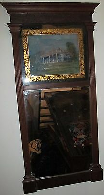 Early 19Th Century Federal Reverse Painted Mirror Depicting Mount Vernon