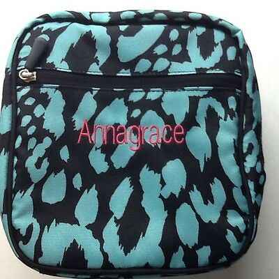 Pottery Barn Kids (ANNAGRACE) Turquoise  & White Classic Lunch Bag Box Tote PBT
