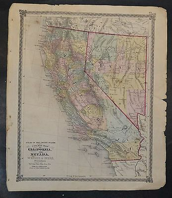 Original Antique 1875 County Map of California and Nevada 18.5x15.5 inch