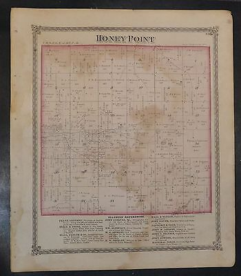 Original 1875 Map of Honey Point & Shaw's Point Township Illinois 18.5x15.5 inch