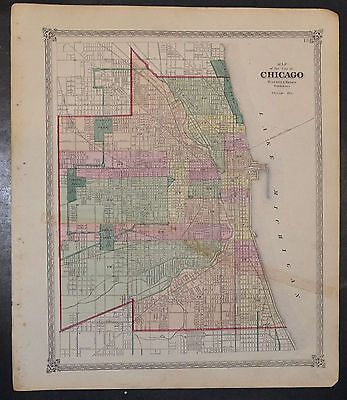 1875 Large Original Map of Chicago Illinois Parks Railroads Great Detail