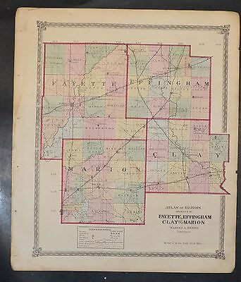 Original 1875 Map of Fayette Effingham Clay Marion Co  Illinois 18.5x15.5 inch