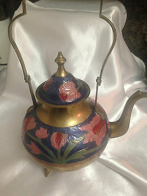 Vintage Colourful Footed Enamel And Brass Teapot