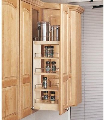 New Wall Cabinet Organizer Pull-Out Wood Kitchen Storage Rack Shelf Pantry