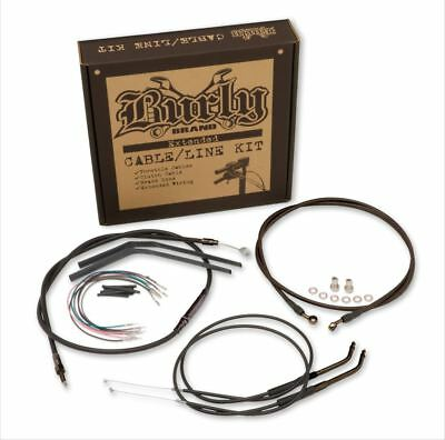 "Burly Brand - B30-1013 - Black Cable/Brake Line Kit 16"" Ape Hangers FLST/C/F/N"