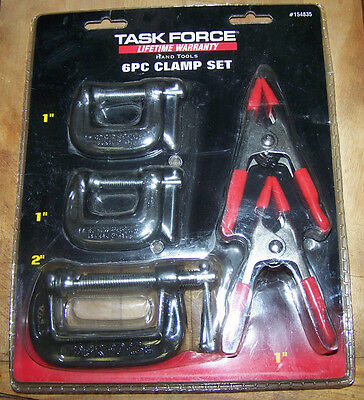 """6-Piece CLAMP SET - by Task Force - 1"""" & 2"""" Clamps - NIP!"""
