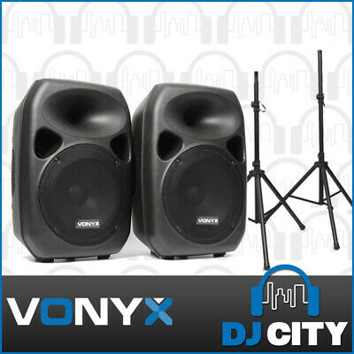 12 Inch PA Speaker System 700 Watt Active Set with 2 channel input w/ Stands Inc