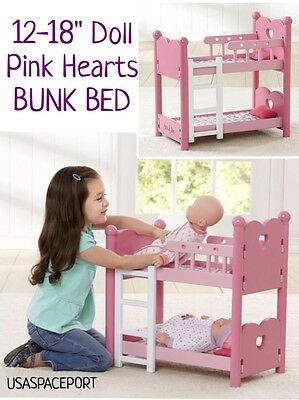 6pc Pink Hearts Baby Doll Bunk Bed Pillows Bedding Set For 18