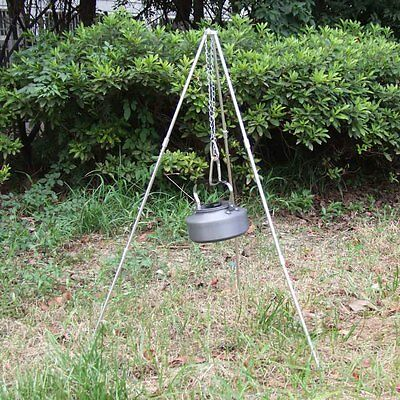 Outdoor Picnic BBQ Cooking Tripod Camping Tripod Hanger Pot with 2 Hooks Sliver