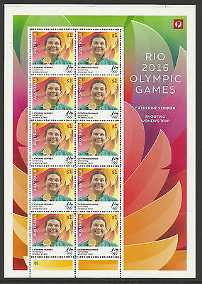Australia 2016 Catherine Skinner Shooting Rio Olympic Games Gold Medal Sheet Mnh