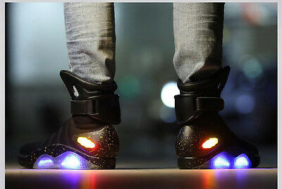 Back To The Future Cosplay Shoes Marty Mcfly Black LED Shoes Halloween Costume