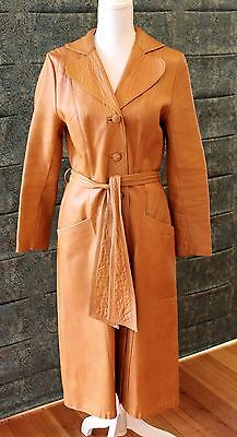 Vintage Retro 1970s Tan Leather Trench coat, Strong & Fisher England Size 12 GVC
