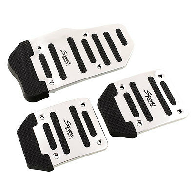 Hot 3PCS Car Vehicle Non-slip Pedal Foot Treadle Cover Pad Alloy Black+Silver