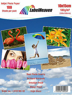 100 Sheets | 10 x 15 cm | 180 gsm High Glossy Inkjet Photo Paper by Label Heaven