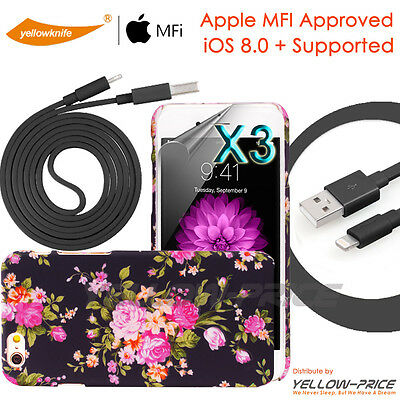 """For Apple iPhone 6 Plus 5.5"""" 3D Active Flower Pattern Case w/MFi USB Cable+Film"""