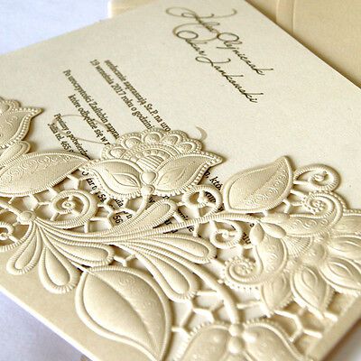 Personalised Flower Wedding Invitations Laces Laser Cut Free P*P FREE ENVELOPES