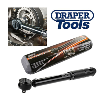 "Draper Black 3/8"" Square Drive Torque Wrench 10Nm  80Nm in Case Calibrated 64534"