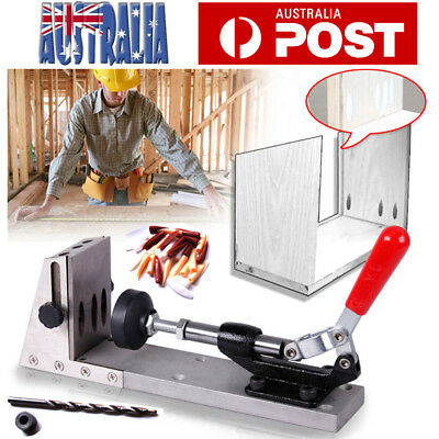 Pocket Hole Drill Jig Kit Kreg Style with Step Drill Bit Wood Working Joint Tool