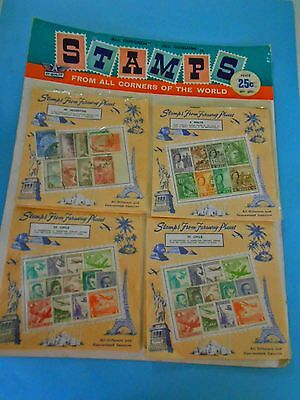Vintage Stamps From All Corners Of The World - On Sales Card - 376 Stamps
