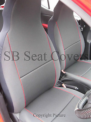 To Fit A Renault Zoe, Car Seat Covers, Charcoal Grey + Red Beading
