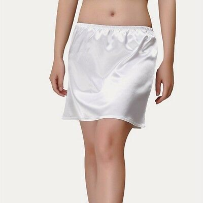 Women Satin Short half Slip Mini Under Dress Skirt Pleated Retro Elastic Waist