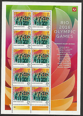 AUSTRALIA 2016 WOMENS RUGBY SEVENS RIO OLYMPIC GAMES GOLD MEDAL SHEET of 10 MNH