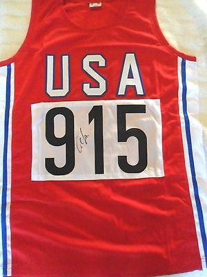 Rare Carl Lewis Signed In Person X Large Olympic Jersey Jsa Witnessed Coa