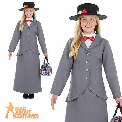 Girls Victorian Nanny Mary Costume Book Week Day Fancy Dress Outfit