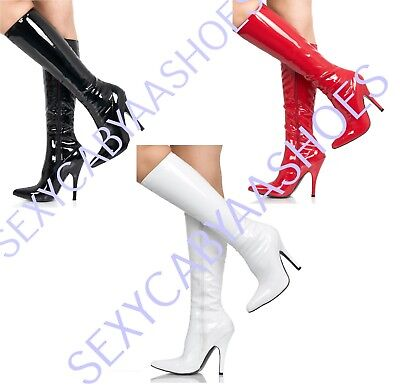 Ladies Womens Fetish Kinky Knee High Patent Pointy Toe Side Zip Boots Size