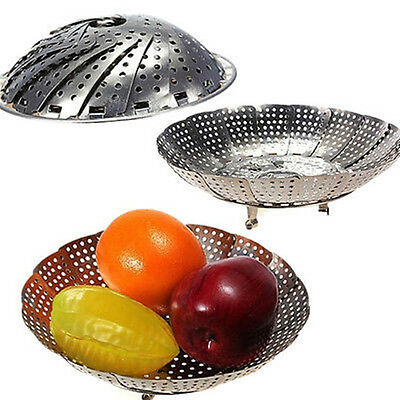 Stainless Steaming Basket Folding Food Fruit Vegetable Dish Steamer Cookware
