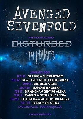 AVENGED SEVENFOLD The Stage January2017 UK Tour PHOTO Print POSTER Disturbed 16
