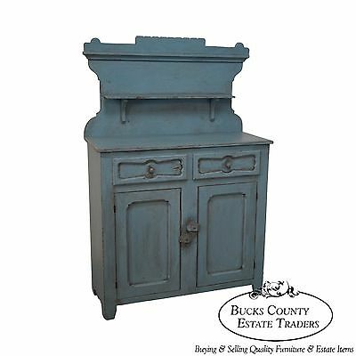 Antique 19th Century American Pie Safe in Robins Egg Blue Milk Paint